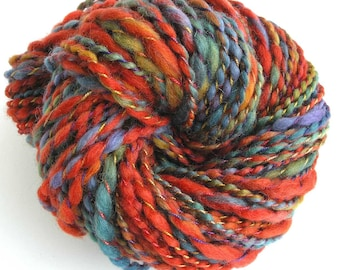 Handspun Yarn Hand Dyed Wool Super Bulky Yarn 193 yards DIY Yarn Cowl Scarf Yarn Copper Rust -  Autumn Leaves