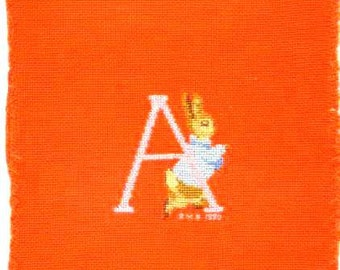 vintage BEATRIX POTTER's Rabbit -Pink Letter A - 1990 -HANDMADE Cross- Stitch on fabric- design from famous english Artist -Good condition