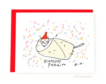 Funny Birthday Card - Birthday Purrito - Cat Birthday Card