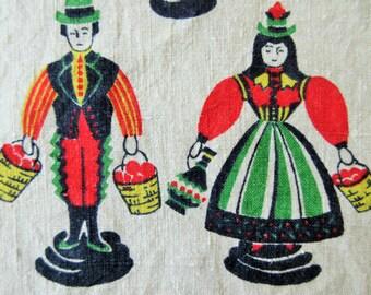 Vintage Towel, Dish Towel, Pennsylvania Dutch, Linen Dish Towel, Folk Towel, Linen Towel, Folk Motifs, Chickens, Retro Vintage Kitchen