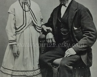 Victorian Father and Daughter 1890s Family Portrait Instant Ancestors Antique Photograph