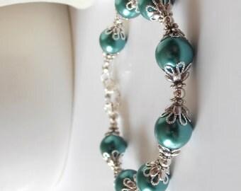 Teal Green Pearl Bracelet, Jade Green Bridesmaid Sets, Wedding Jewelry, Peacock Weddings, Beaded Bridesmaid Bracelets, Maid of Honor Gift