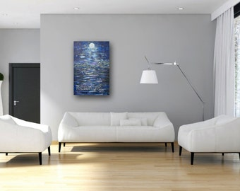 Abstract Moon Expressionist Landscape Painting 24x36 Acrylic on Canvas Full Moon Shades of Blue Contemporary Modern Original Large Wall Art