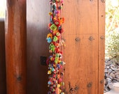 """Colorful Long Pom Pom Swag with Jingle Bells, Crochet Flowers, Beads and Silk, 48"""", 1 pc / Decorating, Bohemian, Gifts / Multi Color"""