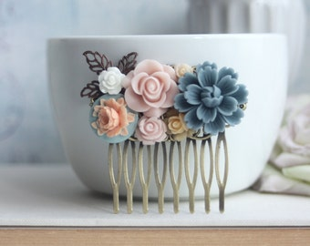 Bridal Comb Dusty Blue Chrysanthemum Pink Rose Blue Ivory Flower Collage Floral Hair Comb Piece Bridesmaids Gift Dusty Blue Pink Wedding