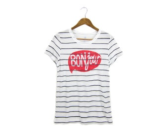 Bonjour Tee - Girly Fit Scoop Neck Short Sleeve T-shirt in Red and Black Ink Stripe - Womens Size S M L XL