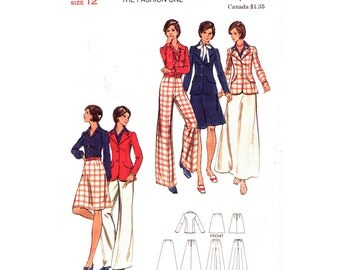 1970s Vintage Pattern Jacket Skirt & Pants Pattern Butterick 3190 Lined Blazer Pants Suit Trousers Womens Sewing Pattern Size 12 UNCUT