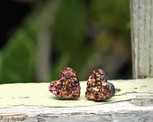Faux Druzy Hearts in Pink and Gold on Black, 10mm Glitter Heart Studs, Titanium or Stainless Steel Posts