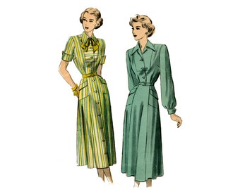 1940s Day Dress Pattern Tailored Short Long Sleeve Button Front Dress Notched Collar Advance 4883 Bust 32 UNPRINTED Vintage Sewing Pattern