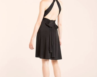 Little black dress, Short Black infinity dress, Convertible dress, Short party dress, Elegant coctail dress, Classic Black wrap dress