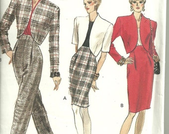 Vogue Very Easy Sewing Pattern #7292 1980s Chic Semi Fitted Jacket Tapered Skirt and Pants Sz 12 14 16