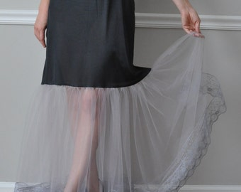 Slip Extender, Long Gray Lace/Tulle Steampunk Gothic Petticoat Slip, Lace Slip Extender - XS S M L XL XXL
