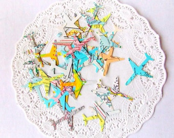 Vintage Atlas Airplane Confetti / Wedding Decor / 50 Pieces / Table Confetti