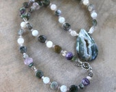 Moss Agate Druzy Necklace with Beautiful Teardrop Pendant and Pale Green, Grey and Purple Stone Beads Soft Subtle Colors Gemstone Jewelry
