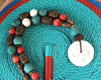 Naga Shell Necklace Tribal Conch Shell with Large Turquoise Glass Beads and African Brass Colorful Ethnic Bohemian Jewelry