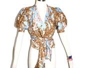 SAINT LAURENT Rive Gauche Vintage Blouse Floral Silk Self Tie Wrap Top - AUTHENTIC -