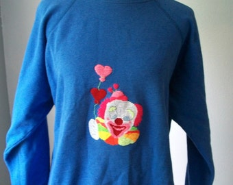 90s Sweatshirt featuring Neon Clown Holding Balloons Embroidery - Cotton Acrylic