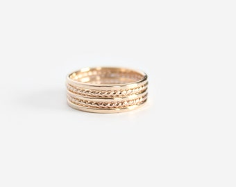 Gold Filled Stacking Rings - Thin Band Ring and Twist Rings - Set of 5