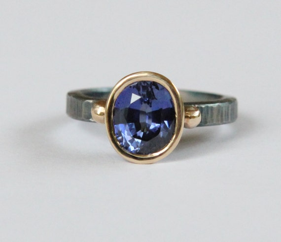 1.90 ct Natural Blue Sapphire Oxidized Sterling Silver And 18K Gold Ring SZ 6.5