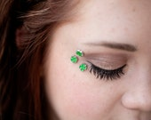 Green Four Leaf Clover Eye Decals - St Patricks Day Gift - Irish Wedding - 4 Leaf Clover Body Jewelry - Temporary Holiday Tattoos
