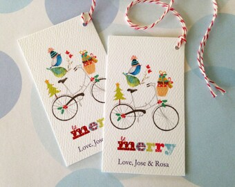 Christmas Gift Tags Personalized, Custom Holiday Tags, Bicycle Tags, Set of 20