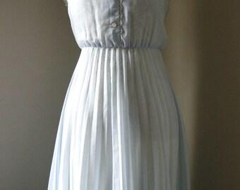 SALE Vintage 40s Sky Blue Picnic Dress