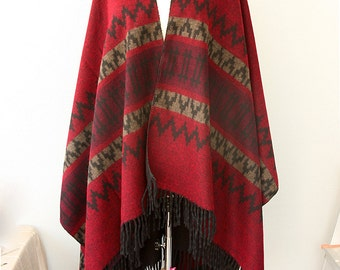 Navajo poncho Dark red capeTribal blanket wrap Aztec cape Autumn fall fashion Winter outerwear Boho chic womens clothing