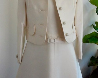 60s NAT ALLEN--Mod Wedding Suit--Silk--Dress and Jacket--Made in Hong Kong--Dress Never Worn with Tag--Size 6