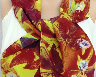 silk crepe scarf Sweet Vine unique long luxury hand painted wearable art women chartreuse maroon floral