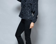 vintage 80s black blouse bow front top slinky jacquard long sleeves M L