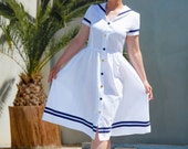 Dress Sommerfrische Women, White Womens's Sailor Dress With Navy Blue Stripes, 50ties Style, Wide Gathered Skirt, Blue And Gold Buttons