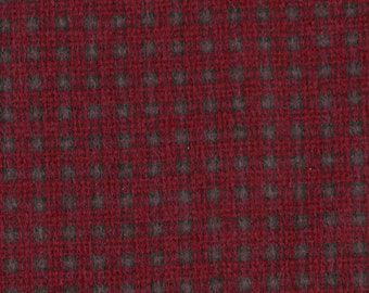 Dark Red Black Plaid Print, Quilting Flannel Fabric, Quilters Holiday, half yard, B20