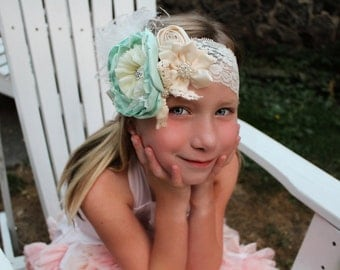 Mint ivory headband, ivory headband, satin singed headband, mint headband, large flower headband, lace headband,baby flower headband,