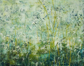 Original Painting Abstract Floral  Oil Cold Wax 20 x 20 Dream a Dream Swalla Studio