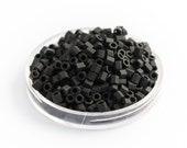 10g TOHO Seed Beads, Hexagon Frosted Matte Opaque Japanese Glass, Jet Black (Size: 8/0)