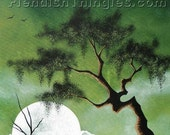"Low  8"" x 10"" print of an original acrylic painting by Owen Klaas green tree moon"