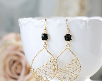 Large Gold Filigree Jet Black Glass Dangle Earrings Gold and Black Chandelier Earrings Drop Earrings bohemian Boho Chic Statement Earrings