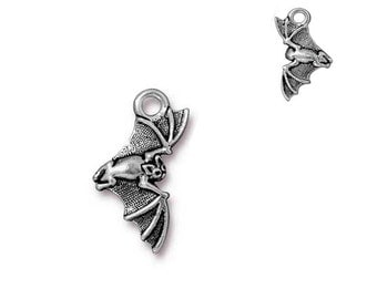 Antique, Fine Silver Plated, Halloween Bat, 2 Sided Charm, Qty:1