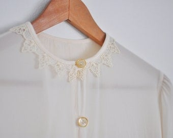 vintage delicate semi-sheer cream button-up blouse / viscose off-white lightweight shirt with detailed lace collar