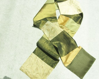 Olive Green and Yellow Scarf, Patchwork Scarf,  Woman's Scarf, Men's Scarf,  Green Scarf,  Wearable Art, Pieced Scarf, Upcycled Scarf