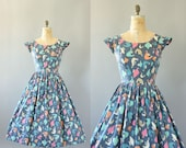 Vintage 50s Dress/ 1950s Cotton Dress/ Johnnye Junior Colorful Rooster Print Cotton Dress w/ Cap Sleeves M