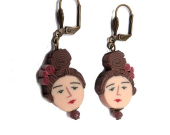 Girl's face Earrings, polymer clay figure earrings, handmade beads, polymer clay face cane, NKFree leverback, woman portrait, folk art