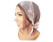 Taupe Head Scarf Pink Lace Snoods Wrap Pre Tied Bandana Head Scarves Tichel Hair Snood Chemo Head Scarf Grey Brown Floral Lace - 021