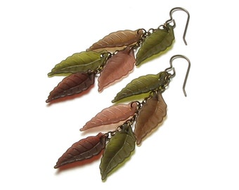Fall Leaves Faux Feather Long Drop Antique Brass Earrings Boho Chic Jewelry Natural Autumn Forest Leaf Jewelry Dark Brown Olive Green Taupe
