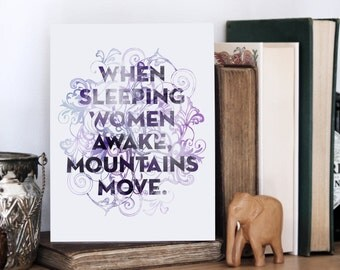 When Women Awake Print, African Proverb, Typography Print, Empowering Quote, Chatty Nora, Purple Art, Chinese Proverb, Empowering Women