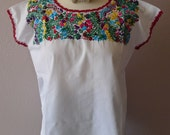 """Mexican embroidered purple huipil blouse cotton floral Oaxaca - Frida Kahlo - resort cover-up 22"""" x 24"""" Med/lrg"""