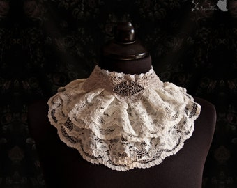 Collar lace, Victorian, cottage chic, Steampunk choker, ivory, Maeror, Somnia Romantica, size medium see item details for measurements