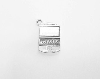 6 Laptop Computer Charms in Silver Tone - C2196