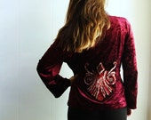 Gothic jacket wrap blouse burgundy crushed velvet yarn art applique boho hippie top romantic clothing
