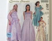 1990s Evening Dress Petticoat & Stole Pattern McCalls 2517 Womens Formal Maxi Dress Prom Dress Sewing Pattern Size 10-14 Bust 32.5-36 UNCUT